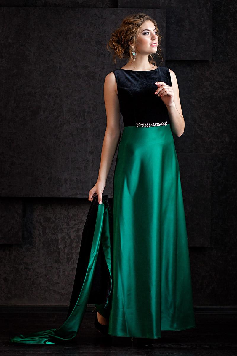 Платья зеленые из атласа